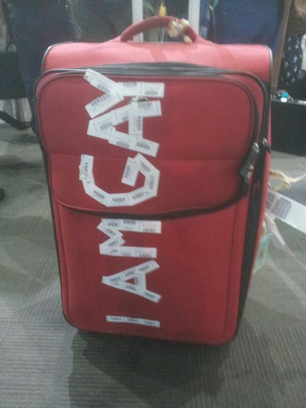Luggage with gay sticker