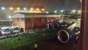 British Airways 747's clips building at Johannesburg Airport