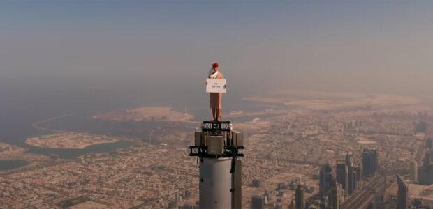 Emirates Cabin Crew on top of Burj Khalifa